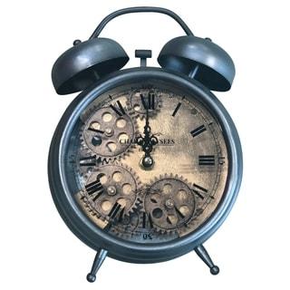 Yosemite Home Decor Brass Gear II Table Top Clock - 10 x 7.5 x 3
