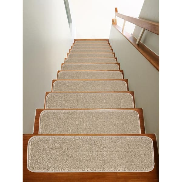 Set of 13 Solo Collection Stair Treads Walnut Solid Colors Rubber Backing Non-Slip 8.5 inches x 30 inches Mod-Arte Modern /&Contemporary
