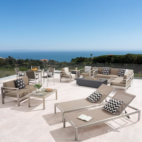 Cape Coral Outdoor 16 Piece Aluminum Estate Collection with Cushions and Fire Pit by Christopher Knight Home