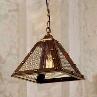 Torby 1-light Aged Copper Pendant Lamp with Screened Shade (Edison Bulb Included)