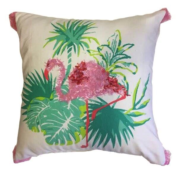 Beaded Flamingo Cotton Decorative Pllow