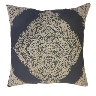 Grey Cotton 20-inch x 20-inch x 4-inch Embroidered Decorative Pillow