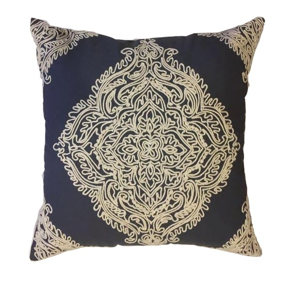 Navy Embroidered Decorative Pillow