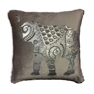 Silver Elephant Multicolored Cotton 18-inch x 18-inch x 4-inch Decorative Pillow