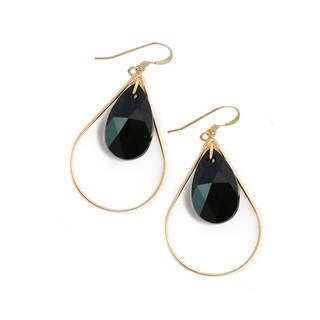 Sonia Hou Selfie Genuine Black Jet Crystals In 14K Gold Filled Tear Drop Dangle Earrings