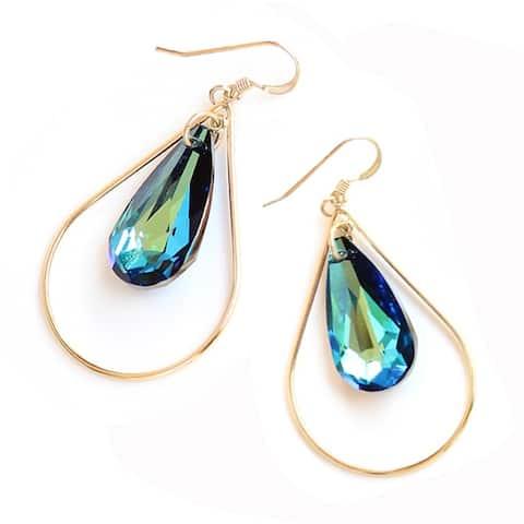 Sonia Hou Selfie Genuine Mermaid Blue Crystals in 14K Gold Filled Tear Drop Dangle Earrings