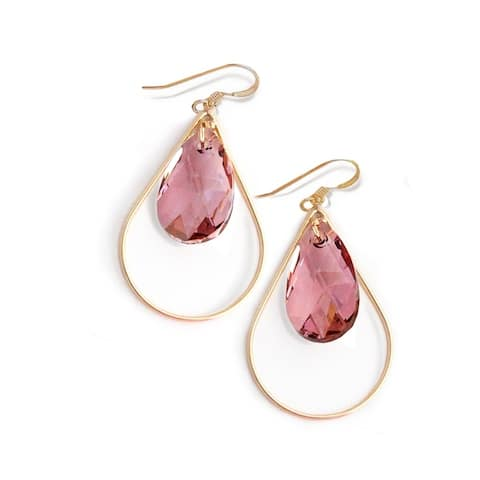 Sonia Hou Selfie Genuine Pink Rose Crystals In 14K Gold Filled Tear Drop Dangle Earrings