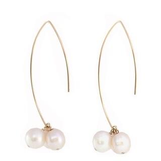 Sonia Hou Angel 14K Gold Filled Thread Drop Dangle Freshwater Pearl Earrings