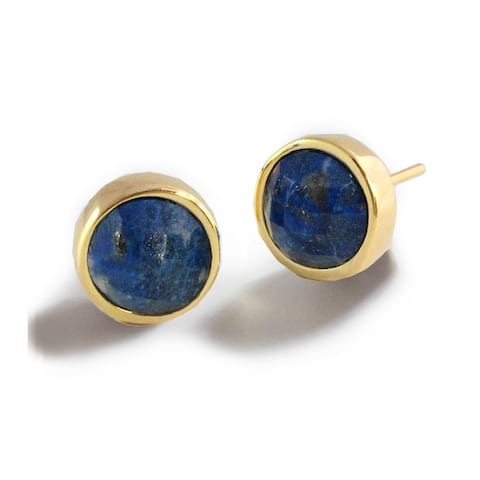 Sonia Hou Fire 3-Way Convertible 24K Gold Blue Denim Lapis Lazuli Gemstone Stud Earrings