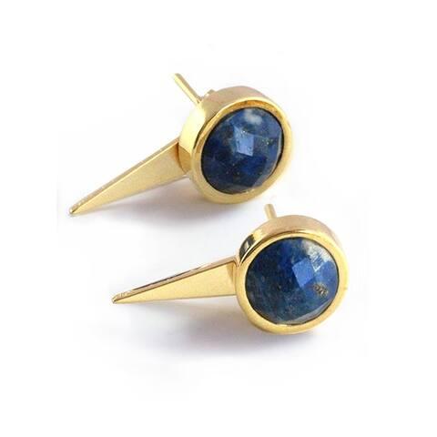 Sonia Hou Fire 3-Way Convertible 24K Gold Blue Denim Lapis Lazuli Gemstone Ear Jacket Earrings
