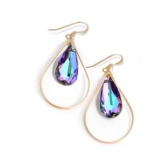 Sonia Hou Selfie Genuine Purple Vitrail Light Crystals In 14K Gold Filled Tear Drop Dangle Earrings