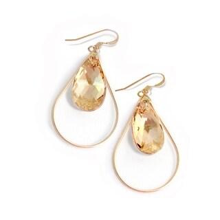 Sonia Hou Selfie Genuine Champagne Naked Crystals In 14K Gold Filled Tear Drop Dangle Earrings