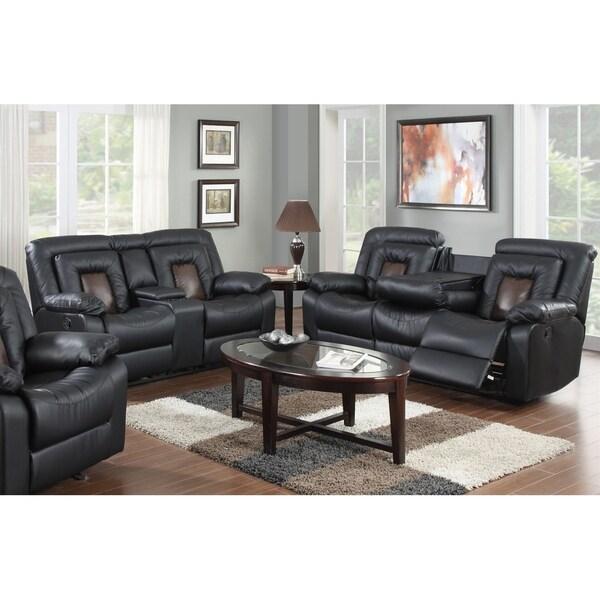 Shop 2pcs Cobra Black Leather Sofa Loveseat Set On Sale Free