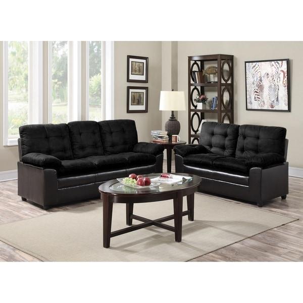 GTU Furniture Modern, Sleek & Plush Microfiber & Rich Faux Leather Upholstery, Tufted Cushion Sofa Loveseat, Sofás de Sala