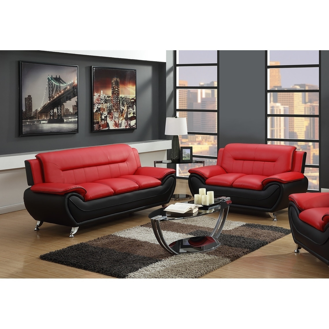 2Pc Red On Black Sofa & Loveseat Set