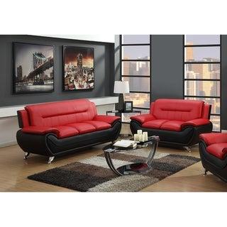 2Pc Red On Black Sofa & Loveseat Set