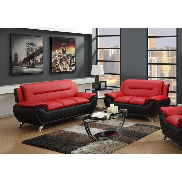 Red And Black Sofa Set Dark Red Sofa Modern Red Leather Couch Sofa ...