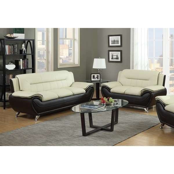 2Pc Beige On Brown Sofa & Loveseat Set