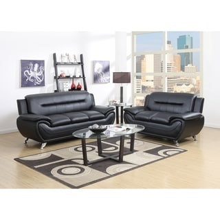 GTU Furniture Contemporary Modern, Sleek Chic and Plush and Faux Leather Rich Black, Over-Stuffed Couch Sofa, Sofás de Sala
