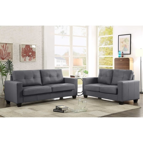GTU Furniture Contemporary Modern, Sleek Plush Faux Leather, Stuffed 2-Piece Tufted Cushion Couch Sofa loveseat, Sofás de Sala