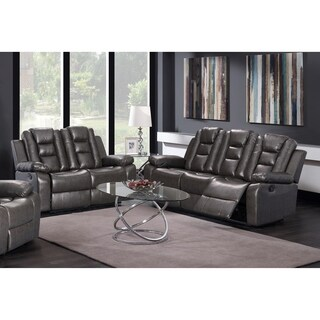 Grey Pu Leather Sofa Loveseat Set