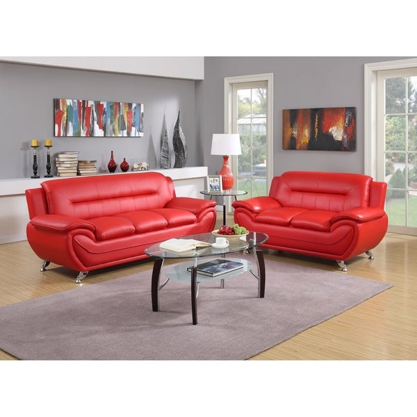 Shop 2pc Red Sofa Loveseat Set Free Shipping Today Overstock