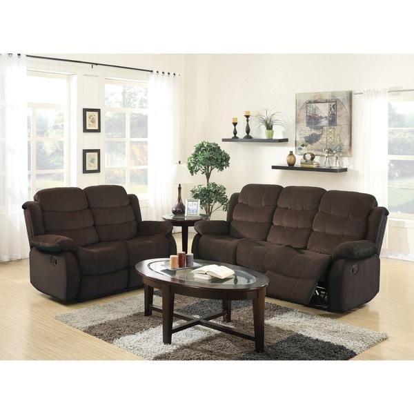 GTU Furniture Traditional Transitional, Plush Microfiber Upholstered, Reclining Sofa Loveseat, Sofás Reclinables Para Adultos