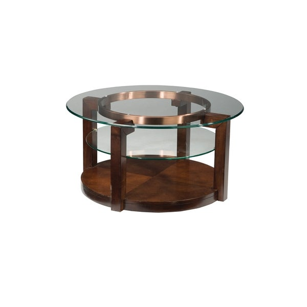 Shop Standard Furniture Coronado Brown Wood Glass Round Coffee Table