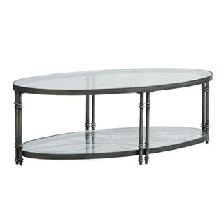 Standard Furniture Terrazza Clear Glass Top Chrome NIckel Finish Frame Coffee Table