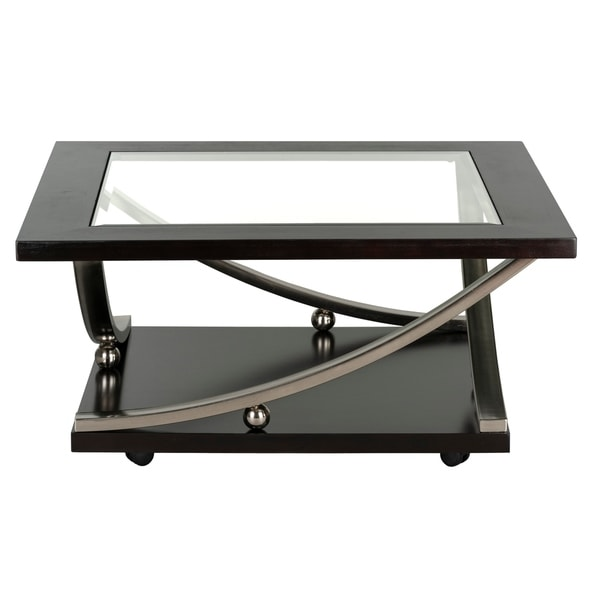 Standard Furniture Melrose Square Brown Wood Coffee Table with Glass Top