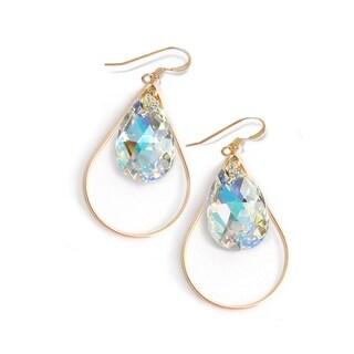 Sonia Hou Selfie Genuine Silver Billionaire Crystals In 14K Gold Filled Tear Drop Dangle Earrings