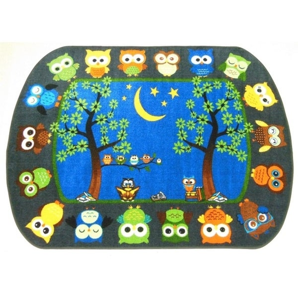"""Story Time Owls 6'6"""" x 8'4"""" children's educational area rug - EXACT SIZE"""