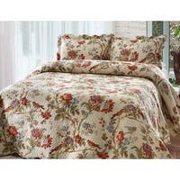 Patch Magic Finch Orchard Pattern Quilt 3 Piece Queen Size Set (As Is Item)