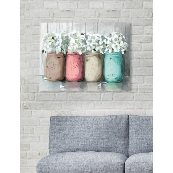 Oliver Gal 'Mason Jar Turquoise' White Floral and Botanical Wall Art Canvas Print