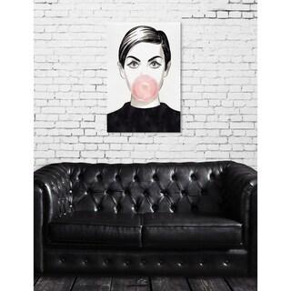 Oliver Gal 'Bubblegum Idol' People and Portraits Wall Art Canvas Print - Black, White