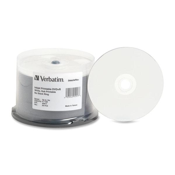 Verbatim DVD+R 4.7GB 16X DataLifePlus White Inkjet Printable, Hub Pri