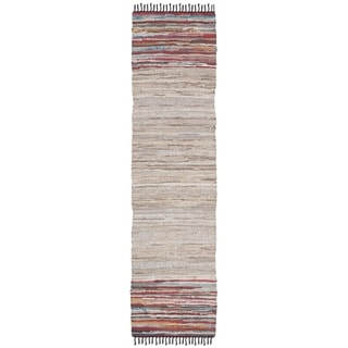"""Safavieh Hand-Woven Vintage Leather Modern & Contemporary - Beige/Multi Leather Rug - 2'3"""" x 9' Runner"""