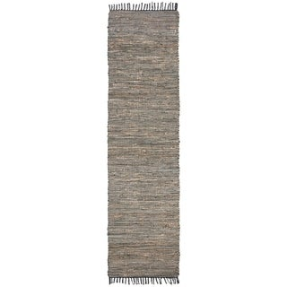 """Safavieh Hand-Woven Vintage Leather Modern & Contemporary - Grey Leather Rug - 2'3"""" x 9' Runner"""