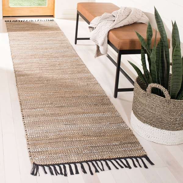 """Safavieh Hand-Woven Vintage Leather Modern & Contemporary - Beige Leather Rug - 2'3"""" x 9' Runner"""