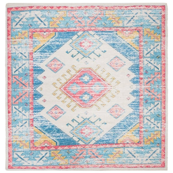 Safavieh Hand-Woven Safran Modern & Contemporary - Cream/Blue Cotton Rug - 6' x 6' Square