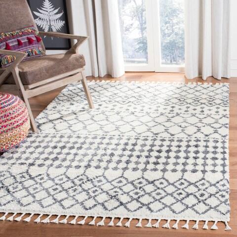 "Safavieh Berber Tassel Shag Modern & Contemporary - Cream/Dark Grey Area Rug - 6'7"" x 6'7"" Square"