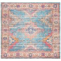 Safavieh Hand-Woven Safran Modern & Contemporary - Rust/Blue Cotton Rug - 6' x 6' Square