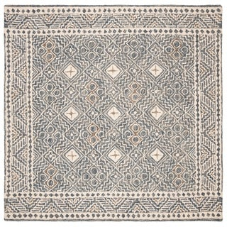 Safavieh Hand-Tufted Micro-Loop Transitional - Blue/Ivory Wool Rug - 5' x 5' Square