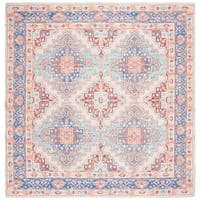 Safavieh Hand-Woven Safran Modern & Contemporary - Blue/Rust Cotton Rug - 6' x 6' Square