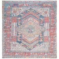 Safavieh Hand-Woven Safran Modern & Contemporary - Fuchsia/Blue Cotton Rug - 6' x 6' Square