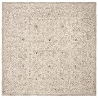 Safavieh Hand-Tufted Micro-Loop Transitional - Silver/Ivory Wool Rug - 5' x 5' Square
