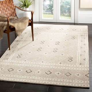 Safavieh Hand-Tufted Micro-Loop Transitional - Grey/Ivory Wool Rug - 5' x 5' Square
