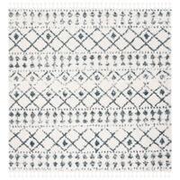 "Safavieh Berber Tassel Shag Modern & Contemporary - Cream/Blue Area Rug - 6'7"" x 6'7"" Square"