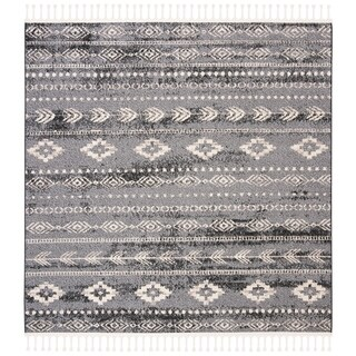 "Safavieh Hand-Knotted Marrakech Traditional - Navy/Grey Wool Tassel Area Rug - 6'7"" x 6'7"" square"