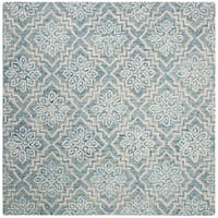 Safavieh Hand-Tufted Abstract Modern & Contemporary - Blue/Grey Wool Rug - 6' x 6' Square